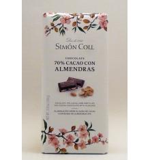 Chocolat 70% cacao avec Amandes Simon Coll 100 grammes.