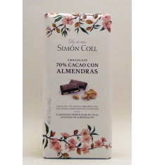 Schokolade 70% Kakao mit Mandeln Simon Coll 100 Gramm.