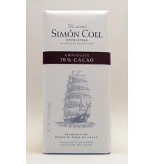 Chocolate de 70% de cacau Simon Coll 85 gramas.