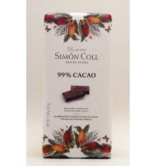 Chocolate de 99% de cacau Simon Coll 85 gramas.