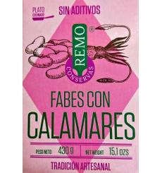 Les haricots en conserve avec calmar Remo 425 grs.