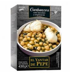 Kichererbsen mit Kabeljau und Spinat El Yantar de Pepe 430 grs.