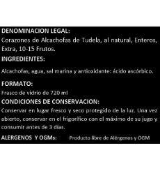 Corazones de alcachofa de Tudela entera extra Pedro Luis 660 grs.