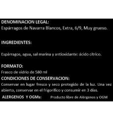 Espárragos de Navarra extra 6/9 frutos Pedro Luis 540 grs.