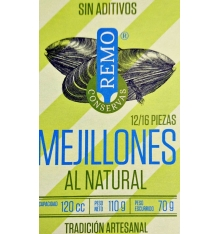 Natural Canned Mussels Remo 12/14 pieces 115 grams.