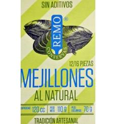Mejillones al natural Conservas Remo 12/16 piezas 110 grs.