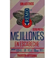 Mejillones en escabeche Conservas Remo 12/16 piezas 110 grs.