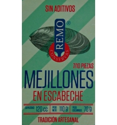 Conserva mexilhões enlatados Remo 7/10 pedaços de 110 gramas.