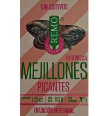 Moules en conserve marinés épicés Remo 12/16 pièces de 110 grammes.