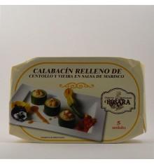 Calabacín relleno de centollo y vieira en salsa de marisco Rosara lata 250 grs.
