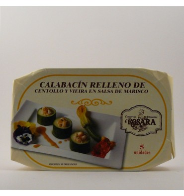 Zucchini stuffed with crab and scallop sauce 250g canned seafood Rosara.