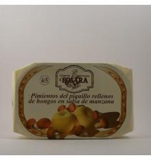 Pimientos del piquillo rellenos de hongos en salsa de manzana Rosara lata 250 grs.