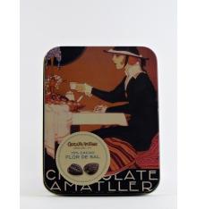 Fulles fines de xocolata 70% cacau amb Flor de Sal Amatller 60 grs.